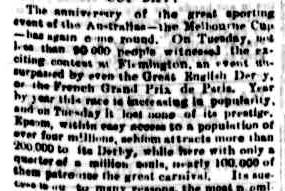 V.R.C. SPRING MEETING. (1879, November 6). Portland Guardian (Vic. : 1876 - 1953), p. 3 Edition: MORNINGS.. Retrieved November 1, 2011, from http://nla.gov.au/nla.news-article63399555