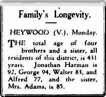 Family's Longevity. (1929, September 10). Advocate (Burnie, Tas. : 1890 - 1954), p. 5. Retrieved December 19, 2011, from http://nla.gov.au/nla.news-article67674788
