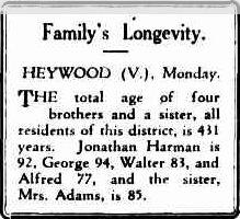Family's Longevity. (1929, September 10). Advocate (Burnie, Tas. : 1890 - 1954), p. 5. Retrieved December 19, 2011, from http://nla.gov.au/nla.news-article67674788