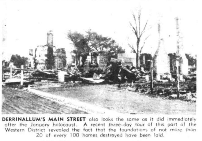 """WESTERN DISTRICT FIRE AREAS STILL SCENE OF RUIN"" The Australasian (Melbourne, Vic. : 1864 - 1946) 27 May 1944: 6. Web. 14 Jan 2017 ."