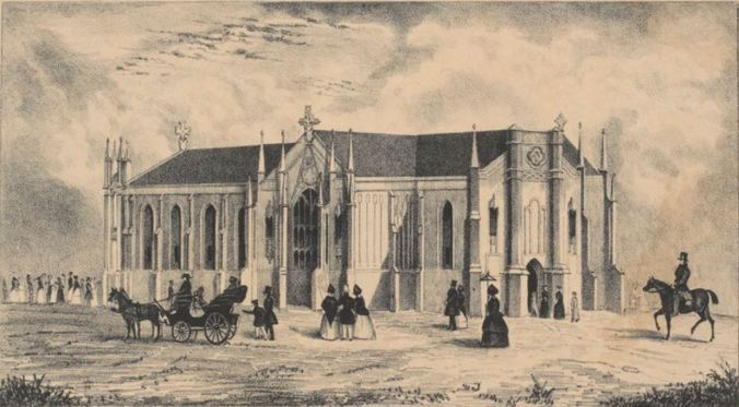 ST. FRANCIS CHURCH, MELBOURNE 1845. Image printed from stone by Thomas Ham. Courtesy of the State Library of Victoria http://handle.slv.vic.gov.au/10381/108235