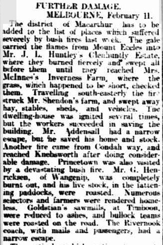 FIRES IN VICTORIA. (1901, February 12). South Australian Register (Adelaide, SA : 1839 - 1900), p. 6. Retrieved February 7, 2012, from http://nla.gov.au/nla.news-article54558042