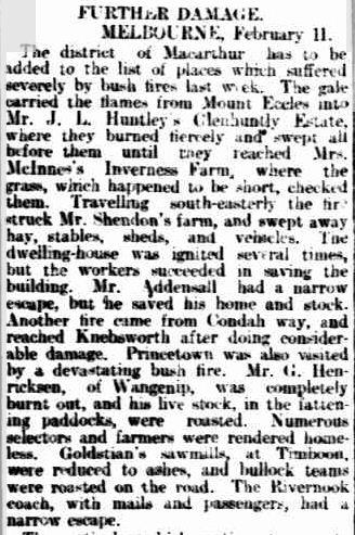FIRES IN VICTORIA. (1901, February 12). South Australian Register (Adelaide, SA : 1839 - 1900), p. 6. Retrieved February 7, 2012, from http://nla.gov.au/nla.news-article54558042