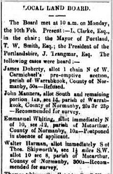 LOCAL LAND BOARD. (1873, February 24). Portland Guardian and Normanby General Advertiser (Vic. : 1842 - 1876), p. 5 Edition: EVENINGS. Retrieved February 20, 2012, from http://nla.gov.au/nla.news-article65429471