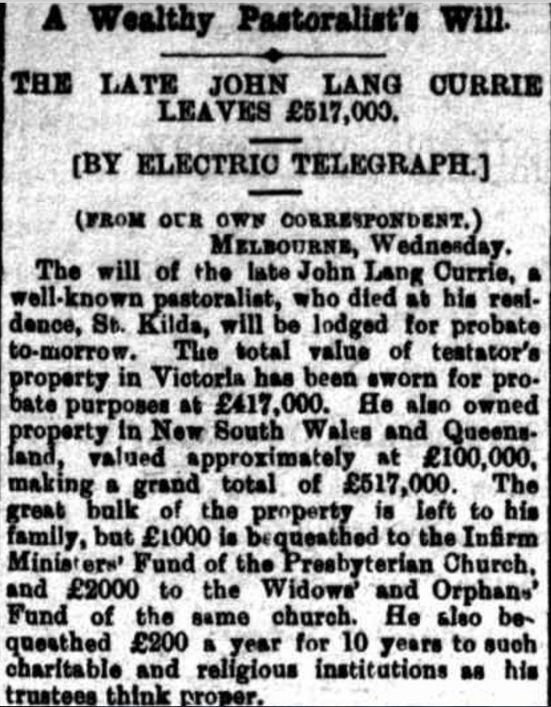 """A Wealthy Pastoralist's Will."" Riverine Herald (Echuca, Vic. : Moama, NSW : 1869 - 1954) 21 July 1898: ."