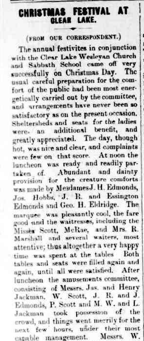 CHRISTMAS FESTIVAL AT CLEAR LAKE. (1901, January 4). The Horsham Times (Vic. : 1882 - 1954), p. 4. Retrieved December 2, 2012, from http://nla.gov.au/nla.news-article73025286