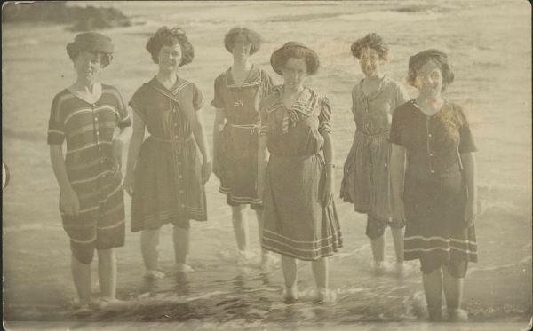 Group of women standing ankle deep in water at Sorrento courtesy of the State Library of Victoria .http://handle.slv.vic.gov.au/10381/44447