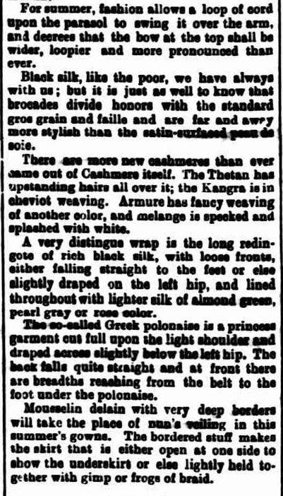 Ladies' Column. (1889, November 5). The Horsham Times (Vic. : 1882 - 1954), p. 2 Supplement: SUPPLEMENT TO THE HORSHAM TIMES. Retrieved November 25, 2012, from http://nla.gov.au/nla.news-article72862812