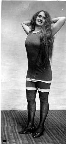 A young woman wearing a bathing costume ca 1920 Image courtesy of the State Library of South Australia - PRG 280/1/17/559  http://images.slsa.sa.gov.au/searcy/17/PRG280_1_17_559.htm