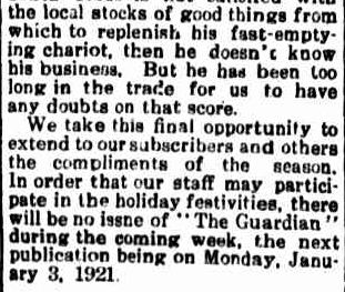 Portland Guardian. (1920, December 23). Portland Guardian (Vic. : 1876 - 1953), p. 2 Edition: EVENING.. Retrieved December 12, 2012, from http://nla.gov.au/nla.news-article64022977