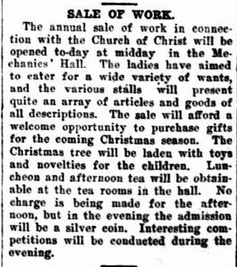 SALE OF WORK. (1922, December 15). The Horsham Times (Vic. : 1882 - 1954), p. 4. Retrieved December 12, 2012, from http://nla.gov.au/nla.news-article72742565
