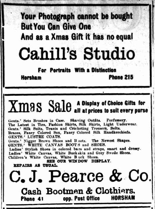 Advertising. (1922, December 15). The Horsham Times (Vic. : 1882 - 1954), p. 2. Retrieved December 12, 2012, from http://nla.gov.au/nla.news-article72742578