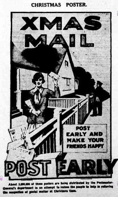 CHRISTMAS POSTER. (1927, December 10). The Argus (Melbourne, Vic. : 1848 - 1956), p. 33. Retrieved December 13, 2012, from http://nla.gov.au/nla.news-article3897110
