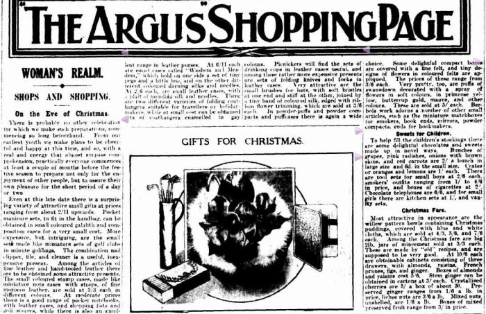 """THE ARGUS"" SHOPPING PAGE. (1928, December 21). The Argus (Melbourne, Vic. : 1848 - 1956), p. 13. Retrieved December 13, 2012, from http://nla.gov.au/nla.news-article3976851"
