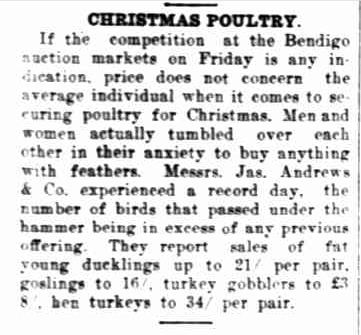POULTRY FOR CHRISTMAS. (1923, December 21). The Horsham Times (Vic. : 1882 - 1954), p. 6. Retrieved December 12, 2012, from http://nla.gov.au/nla.news-article72737714