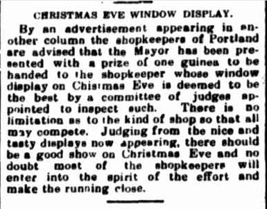 CHRISTMAS EVE WINDOW DISPLAY. (1924, December 15). Portland Guardian (Vic. : 1876 - 1953), p. 2 Edition: EVENING.. Retrieved December 12, 2012, from http://nla.gov.au/nla.news-article64106332