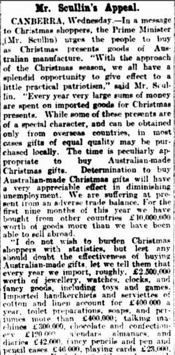 CHRISTMAS PRESENTS. (1929, December 5). The Argus (Melbourne, Vic. : 1848 - 1956), p. 14. Retrieved December 14, 2012, from http://nla.gov.au/nla.news-article4054513