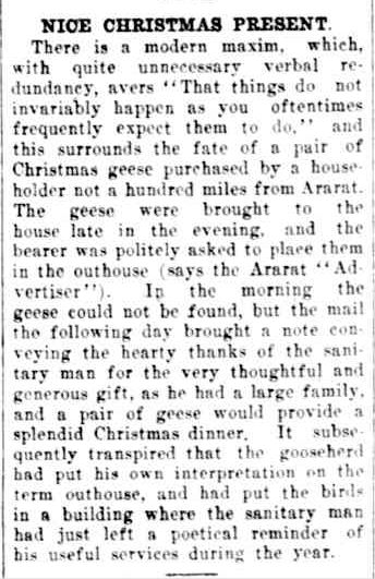 NICE CHRISTMAS PRESENT. (1926, January 12). The Horsham Times (Vic. : 1882 - 1954), p. 4. Retrieved December 12, 2012, from http://nla.gov.au/nla.news-article73000513