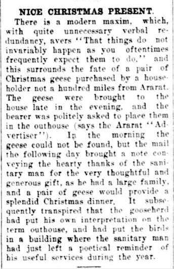 NICE CHRISTMAS PRESENT. (1926, January 12). The Horsham Times (Vic. : 1882 - 1954), p. 4. Retrieved December 12, 2012, from http://nla.gov.au/nla.news-article73000513