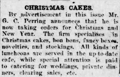 CHRISTMAS CAKES. (1927, December 2). The Horsham Times (Vic. : 1882 - 1954), p. 2. Retrieved December 12, 2012, from http://nla.gov.au/nla.news-article72999479