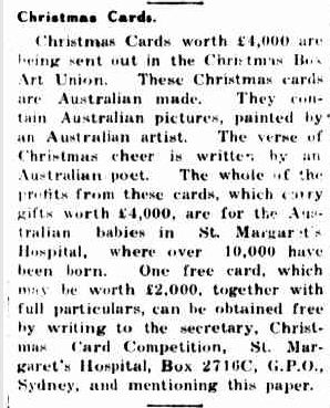 Christmas Cards. (1928, October 22). Portland Guardian (Vic. : 1876 - 1953), p. 2 Edition: EVENING. Retrieved December 12, 2012, from http://nla.gov.au/nla.news-article64267379