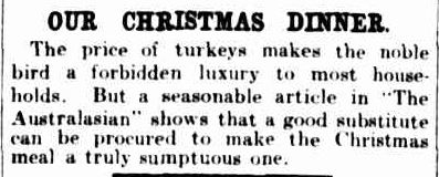 OUR CHRISTMAS DINNER. (1923, December 15). The Argus (Melbourne, Vic. : 1848 - 1956), p. 21. Retrieved December 13, 2012, from http://nla.gov.au/nla.news-article1994780