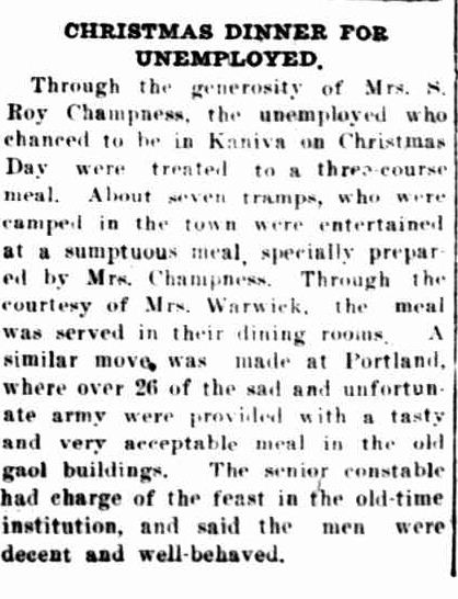 CHRISTMAS DINNER FOR UNEMPLOYED. (1931, January 16). The Horsham Times (Vic. : 1882 - 1954), p. 4. Retrieved December 15, 2012, from http://nla.gov.au/nla.news-article72628871