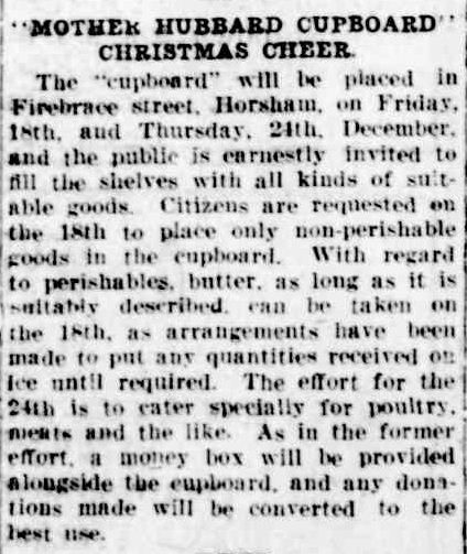 """MOTHER HUBBARD CUPBOARD"" CHRISTMAS CHEER. (1931, December 11). The Horsham Times (Vic. : 1882 - 1954), p. 2. Retrieved December 15, 2012, from http://nla.gov.au/nla.news-article72654972"