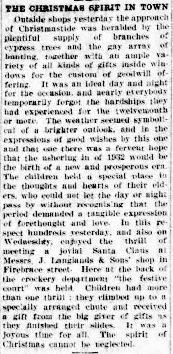 THE CHRISTMAS SPIRIT IN TOWN. (1931, December 25). The Horsham Times (Vic. : 1882 - 1954), p. 2. Retrieved December 15, 2012, from http://nla.gov.au/nla.news-article72655454