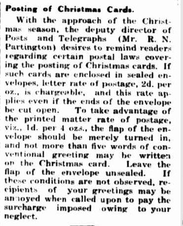 Posting of Christmas Cards. (1939, November 30). Portland Guardian (Vic. : 1876 - 1953), p. 2 Edition: EVENING.. Retrieved December 15, 2012, from http://nla.gov.au/nla.news-article64394633