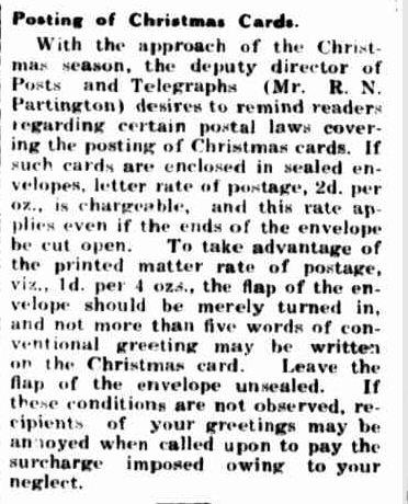 Posting of Christmas Cards. (1939, November 30). Portland Guardian (Vic. : 1876 - 1953), p. 2 Edition: EVENING.. Retrieved December 15, 2012, from http://nla.gov.au/nla.news-article64394633