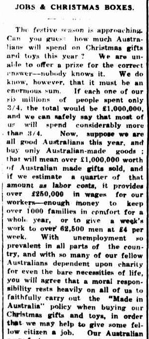 JOBS & CHRISTMAS BOXES. (1932, December 8). Portland Guardian (Vic. : 1876 - 1953), p. 2 Edition: EVENING.. Retrieved December 15, 2012, from http://nla.gov.au/nla.news-article64299947
