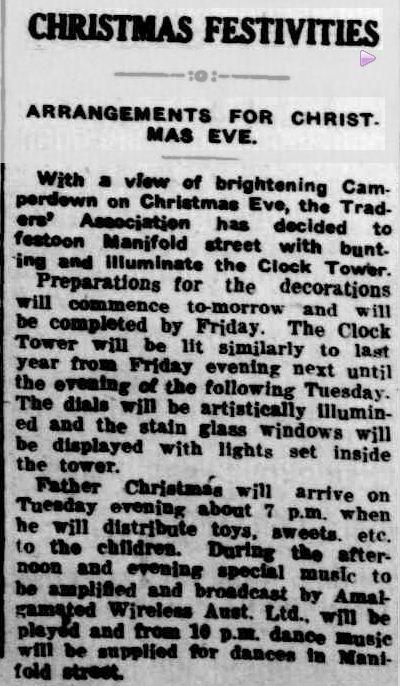 CHRISTMAS FESTIVITIES. (1935, December 17). Camperdown Chronicle (Vic. : 1877 - 1954), p. 2. Retrieved December 16, 2012, from http://nla.gov.au/nla.news-article32177037