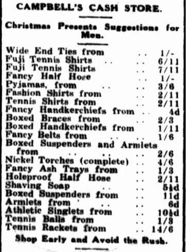 CAMPBELL'S CASH STORE. (1933, December 18). Portland Guardian (Vic. : 1876 - 1953), p. 2 Edition: EVENING. Retrieved December 15, 2012, from http://nla.gov.au/nla.news-article64284389