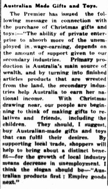 Australian Made Gifts and Toys. (1934, December 20). Portland Guardian (Vic. : 1876 - 1953), p. 2 Edition: EVENING.. Retrieved December 15, 2012, from http://nla.gov.au/nla.news-article64287698