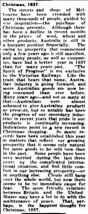 Christmas, 1937. (1937, December 23). Portland Guardian (Vic. : 1876 - 1953), p. 2 Edition: EVENING.. Retrieved December 15, 2012, from http://nla.gov.au/nla.news-article64277899