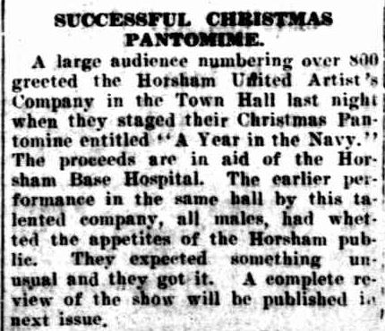 SUCCESSFUL CHRISTMAS PANTOMIME. (1940, December 20). The Horsham Times (Vic. : 1882 - 1954), p. 2. Retrieved December 18, 2012, from http://nla.gov.au/nla.news-article73155556