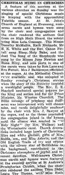 CHRISTMAS MUSIC IN CHURCHES. (1943, December 21). The Horsham Times (Vic. : 1882 - 1954), p. 2. Retrieved December 19, 2012, from http://nla.gov.au/nla.news-article73108233