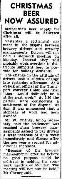 CHRISTMAS BEER HOW ASSURED. (1947, December 20). The Argus (Melbourne, Vic. : 1848 - 1956), p. 1. Retrieved December 20, 2012, from http://nla.gov.au/nla.news-article22529758