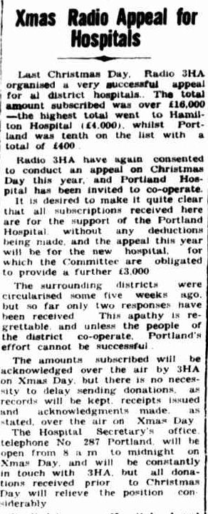 Xmas Radio Appeal for Hospitals. (1949, December 1). Portland Guardian (Vic. : 1876 - 1953), p. 4 Edition: EVENING. Retrieved December 20, 2012, from http://nla.gov.au/nla.news-article64420168