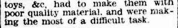 Christmas Toys may Improve. (1944, August 25). The Argus (Melbourne, Vic. : 1848 - 1956), p. 8. Retrieved December 19, 2012, from http://nla.gov.au/nla.news-article11358186