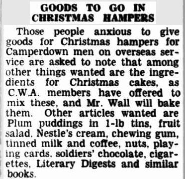 GOODS TO GO IN CHRISTMAS HAMPERS. (1941, August 26). Camperdown Chronicle (Vic. : 1877 - 1954), p. 3. Retrieved December 18, 2012, from http://nla.gov.au/nla.news-article26547914