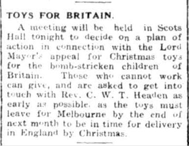 TOYS FOR BRITAIN. (1944, September 25). Portland Guardian (Vic. : 1876 - 1953), p. 2 Edition: EVENING. Retrieved December 19, 2012, from http://nla.gov.au/nla.news-article64390532