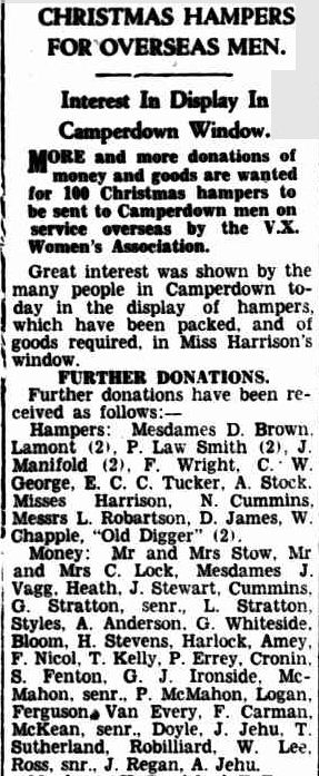 CHRISTMAS HAMPERS FOR OVERSEAS MEN. (1941, September 2). Camperdown Chronicle (Vic. : 1877 - 1954), p. 3. Retrieved December 18, 2012, from http://nla.gov.au/nla.news-article26548028