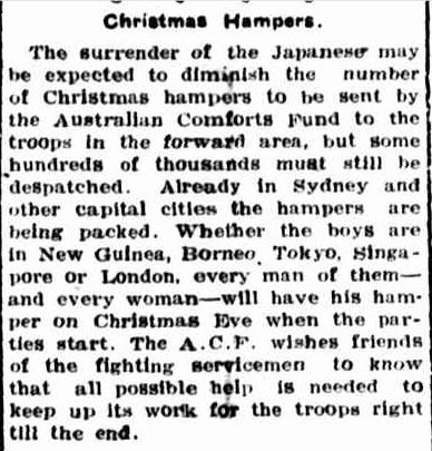 Christmas Hampers. (1945, September 17). Portland Guardian (Vic. : 1876 - 1953), p. 1 Edition: EVENING. Retrieved December 19, 2012, from http://nla.gov.au/nla.news-article64405473