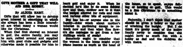 GIVE MOTHER A GIFT THAT WILL AID HER HOBBY. (1941, December 19). Williamstown Chronicle (Vic. : 1856 - 1954), p. 2 Supplement: Greetings Our Christmas Supplement. Retrieved December 18, 2012, from http://nla.gov.au/nla.news-article70713714