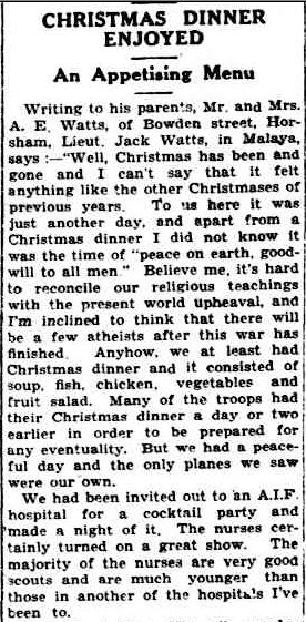 CHRISTMAS DINNER ENJOYí. (1942, January 16). The Horsham Times (Vic. : 1882 - 1954), p. 3. Retrieved December 18, 2012, from http://nla.gov.au/nla.news-article72698798