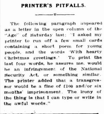 PRINTER'S PITFALLS. (1942, November 26). Portland Guardian (Vic. : 1876 - 1953), p. 4 Edition: EVENING. Retrieved December 19, 2012, from http://nla.gov.au/nla.news-article64382890