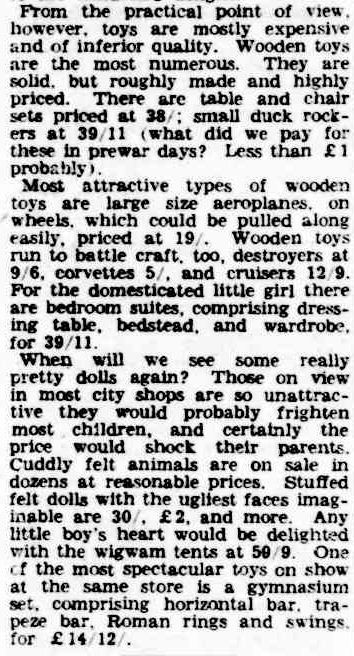 Children To Have Real Christmas. (1945, November 14). The Argus (Melbourne, Vic. : 1848 - 1956), p. 10. Retrieved December 19, 2012, from http://nla.gov.au/nla.news-article12153002