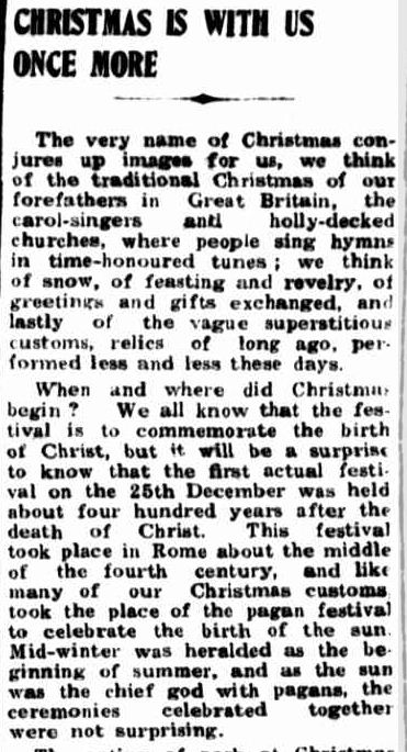 CHRISTMAS IS WITH US ONCE MORE. (1950, December 21). Portland Guardian (Vic. : 1876 - 1953), p. 3 Edition: MIDDAY.. Retrieved December 21, 2012, from http://nla.gov.au/nla.news-article64423565